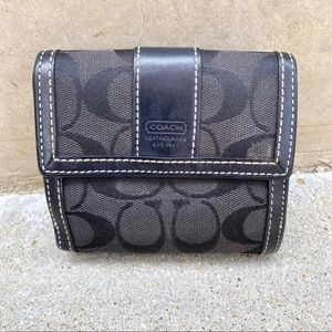 COACH hamptons signature wallet bifold black logo
